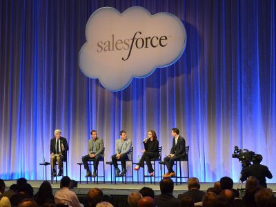 Photo: Salesforce executives speak on an panel in 2013 alongside peers from Google, Accenture, and Facebook. (Credit: Raysonho @ Open Grid Scheduler / Grid Engine)